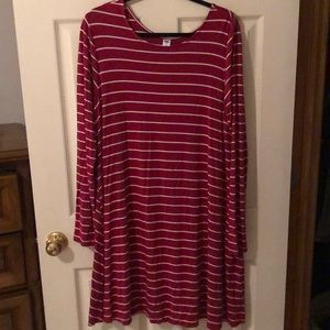 Cranberry/white striped long sleeve dress